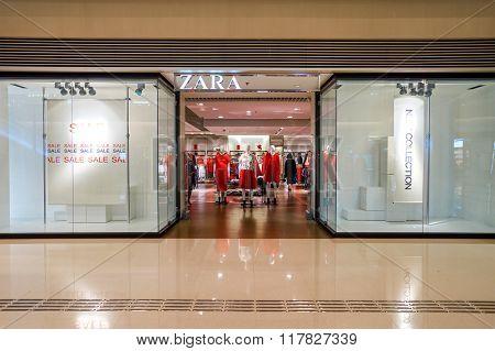 HONG KONG - JANUARY 27, 2016: design of Zara store at Elements Shopping Mall. Elements is a large shopping mall located on 1 Austin Road West, Tsim Sha Tsui, Kowloon, Hong Kong