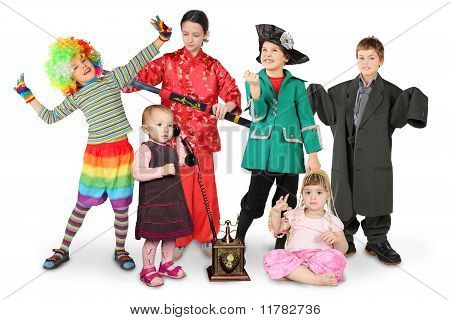 Children In Costumes, Clown, Businessman, Pirate, Fighter, With Phone, Bellydance On White Collage