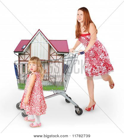Joyful Woman Wearing Dress Is Moving Shopping Basket With House And Daughter Collage