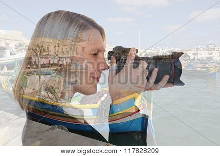 Woman Vacation Holidays Travel Traveling Taking Photos With Camera Double Exposure