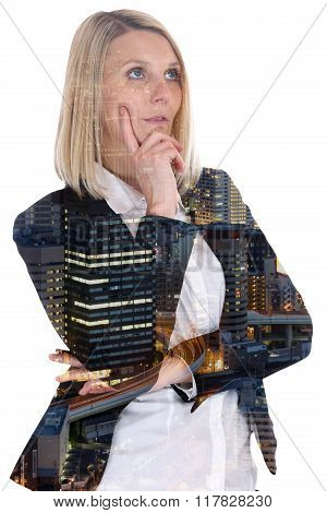 Business Woman Businesswoman Thinking Think Confidence Hope City Double Exposure
