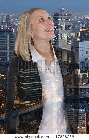 Business Woman Businesswoman Freedom Free Smiling Confidence Hope Double Exposure