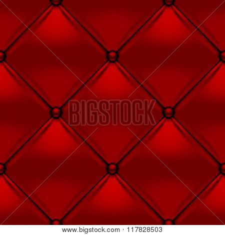 Red button-tufted leather background. Red upholstery seamless pattern