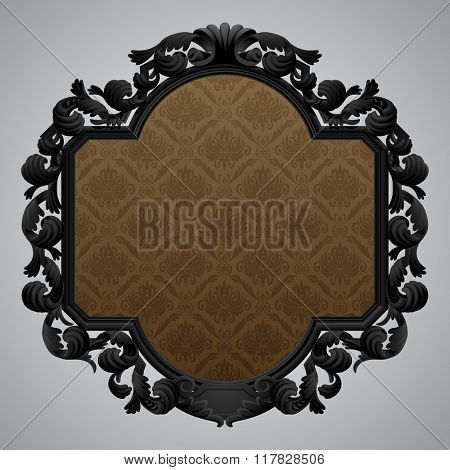 Black baroque carved beige frame with a brown ornamental background. Contains the Clipping Path