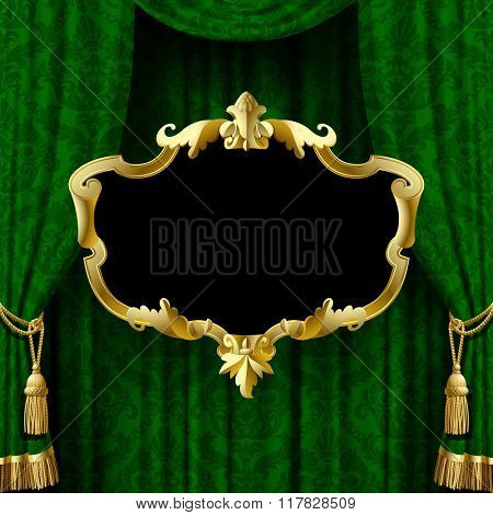 Suspended gold decorative baroque frame on the green curtain background. Square presentation artistic poster and placard