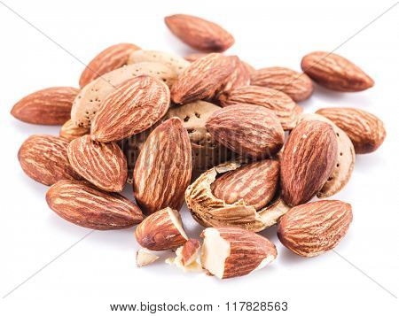 Almond nuts isolated on the white background.