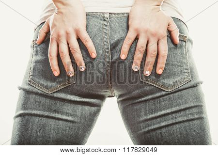 Human With Hands On Buttocks Ass In Jeans Trousers