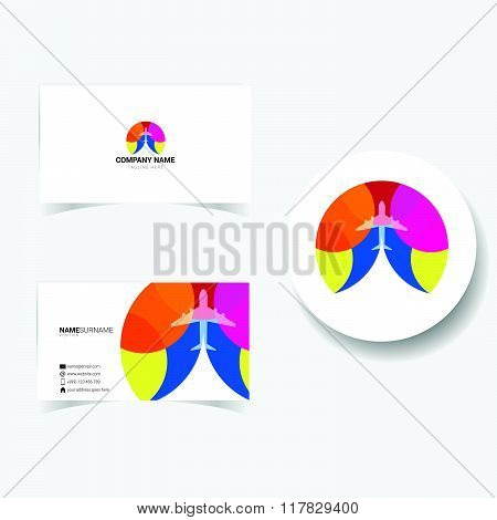 Business Card With Illustration Of Airplane