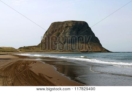 Cape on seaside  island Sakhali