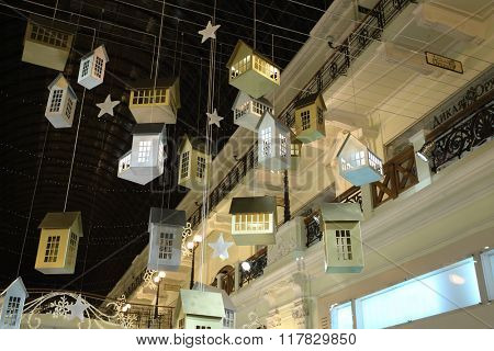 RUSSIA, MOSCOW - 03 JAN, 2015: Christmas decor of ceiling with houses in a Petrovsky Passage.