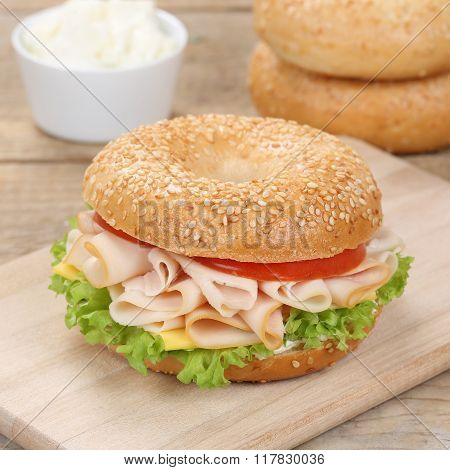 Healthy Eating Bagel Sandwich For Breakfast With Ham