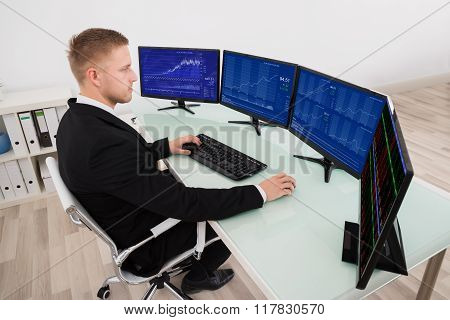 Businessman Looking At Graph On Computer Screen