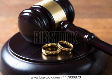 Wedding Rings On Mallet In Courtroom