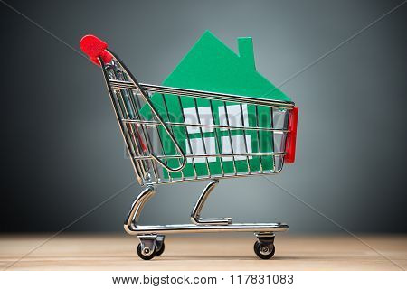 Green Paper House In Shopping Cart On Table