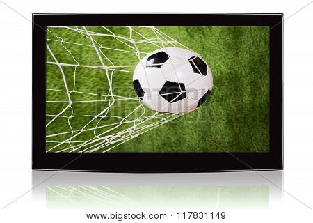 Television Displaying Soccer Ball And Net
