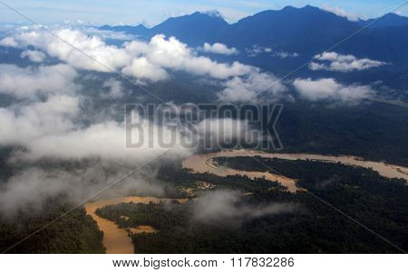 Brown muddy river Borneo