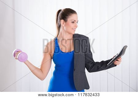 Woman Doing Multiple Work
