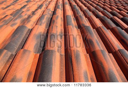 Old Terracotta Tile Roof, Detailed Structure View Along The Tiles