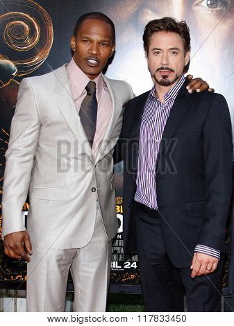 Jamie Foxx and Robert Downey Jr. at the Los Angeles premiere of the