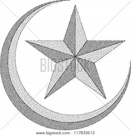 Moon Star Stipple Effect Raster Illustration