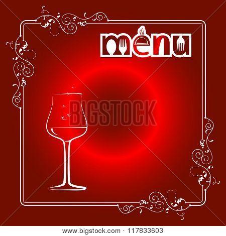 Wine Menu Card Design Template Raster Illustration
