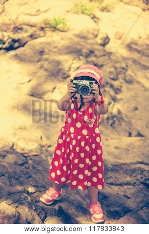 Asian Girl Photographer With Professional Digital Camera In Beautiful Outdoors. Retro Style.