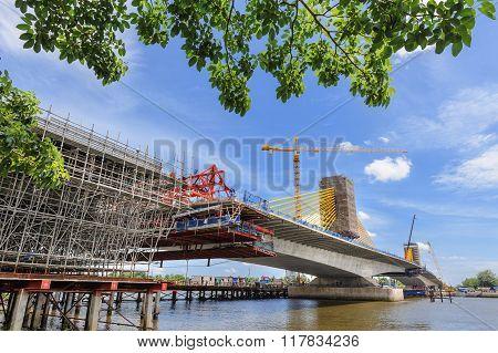 construction site, structure of bridge under construction