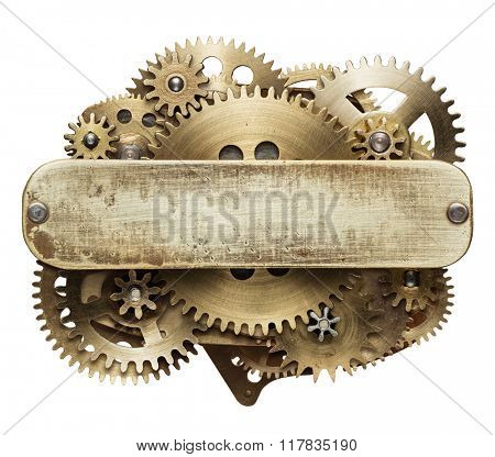 Metal collage of clockwork gears with empty plate