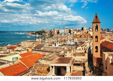 View on Naples old town under blue sky. Italy