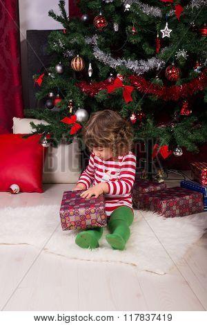 Toddler Boy Opening Christmas Present