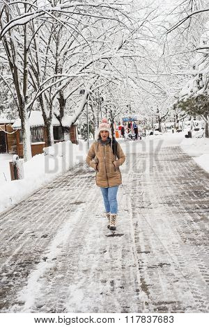 Upset Woman Walking In Park