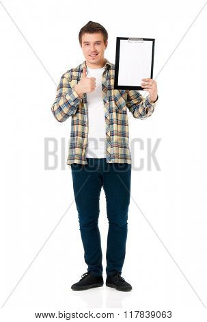 Young man with clipboard, isolated on white background