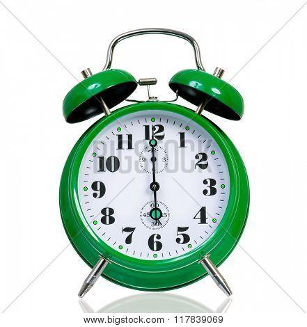 Big green alarm clock, isolated on white background