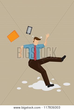 Slippery Floor Accident Vector Illustration