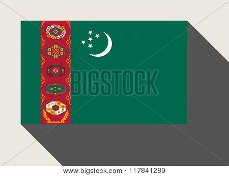 Turkmenistan flag in flat web design style.