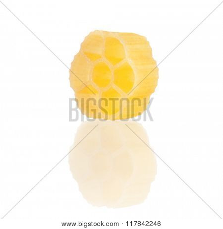 Close up raw pasta isolated on white background