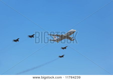Airborne Command Post On Il-80 Plane Accompanied By Group Of Fighters Mig-29