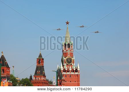Supersonic, Variable-sweep Wing Heavy Strategic Tu-160 Airplanes Fly Over Red Square
