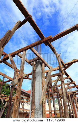 Photo of building construct site on blue sky