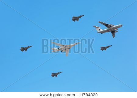 Il-76 And Tu-160 Planes Accompanied By Group Of Fighters On Parade