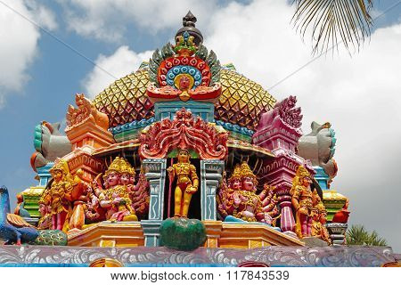 Gopura of Hindu temple depicting various forms of Lord Karthikeya