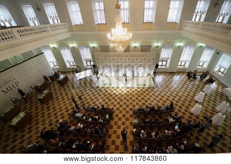 RUSSIA, MOSCOW - 05 MAR, 2015: Top view of speaker and spectators at literary award Yasnaya polyana in the Pashkov house.
