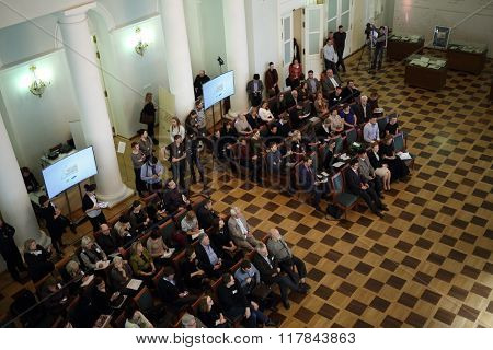 RUSSIA, MOSCOW - 05 MAR, 2015: Top view of svisitors at literary award Yasnaya polyana in the Pashkov house.