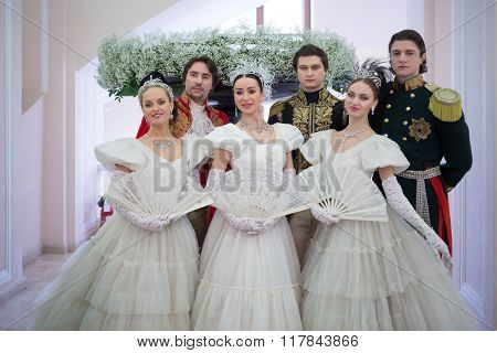RUSSIA, MOSCOW - 05 MAR, 2015: Group of dancers are standing at literary award Yasnaya polyana in the Pashkov house.