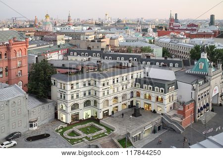 RUSSIA, MOSCOW - 30 JUL, 2015: Cityscape with many beautiful buildings from viewing point in Detsky mir store.