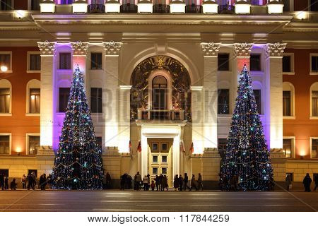 RUSSIA, MOSCOW - 3 JAN, 2015: Residence of the Mayor with a christmas tree and many people.
