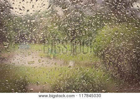 Vintage Photo, Dripping Down Drops Of Rain On Glass