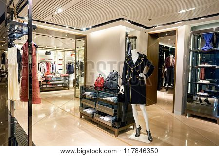 HONG KONG - JANUARY 27, 2016: interior of Burberry store. Burberry Group plc is a British luxury fashion house, distributing outerwear, fashion accessories, fragrances, sunglasses, and cosmetics.