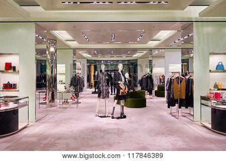 HONG KONG - JANUARY 27, 2016: inside of Prada store. Prada S.p.A. is an Italian luxury fashion house, founded in 1913 by Mario Prada.