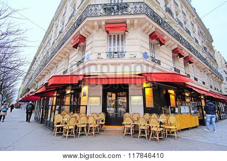 Paris, France, February 7, 2016: street cafe in Paris, France